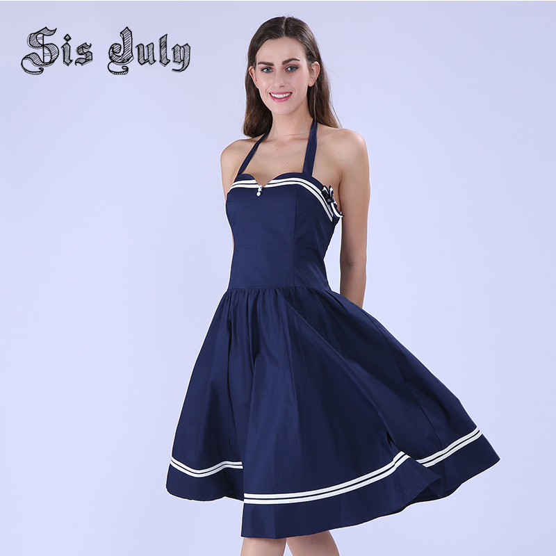 Sisjuly Vintage Summer Dress A-Line Women Vintage Pin up Dress Spaghetti Strap Summer Dress Knee-Length 50s Rockabilly Dress(China (Mainland))