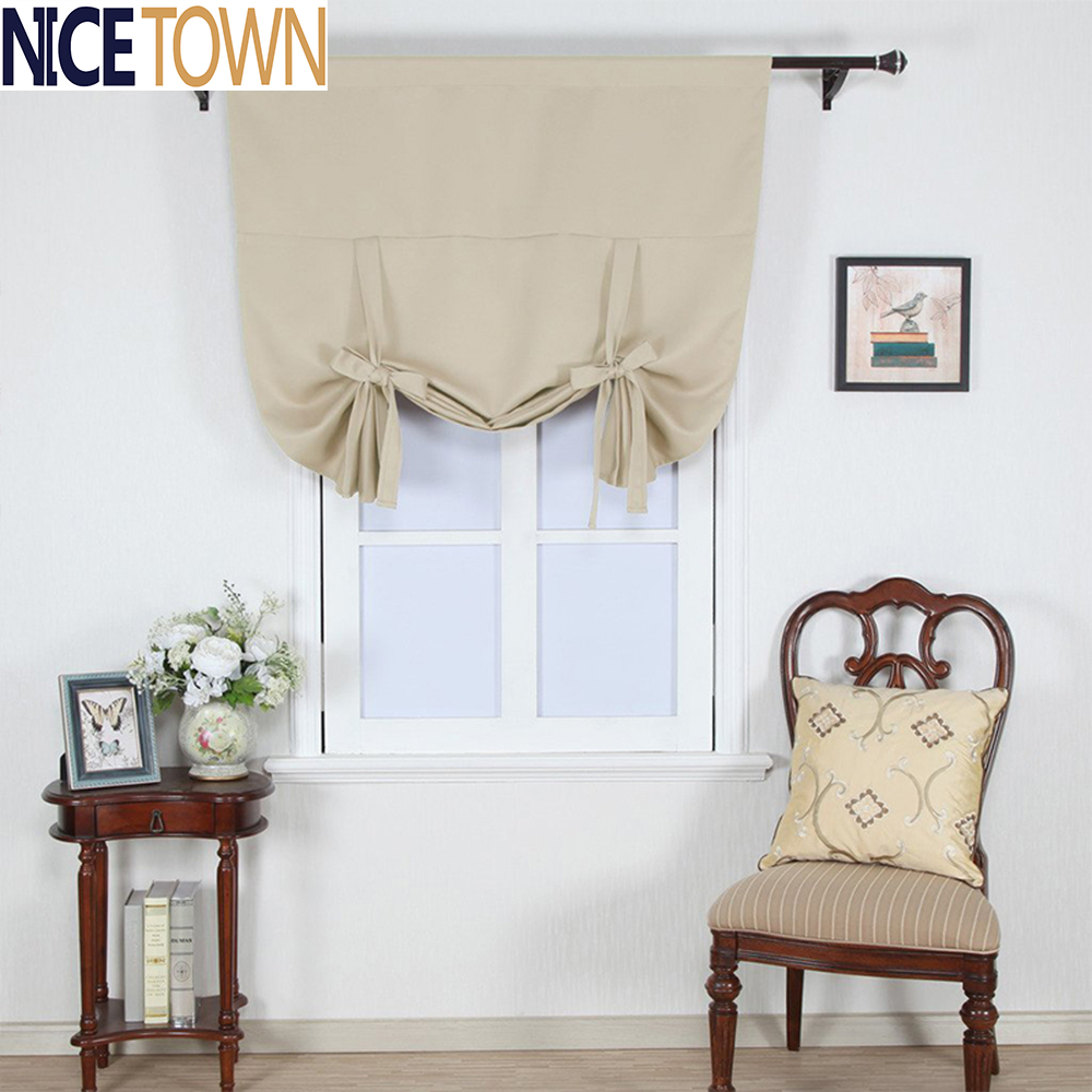 Solid Color Thermal Insulated Adjustable Tie-up Shade Blackout Curtain Kitchen Window Curtain Modern Window Curtain(China (Mainland))