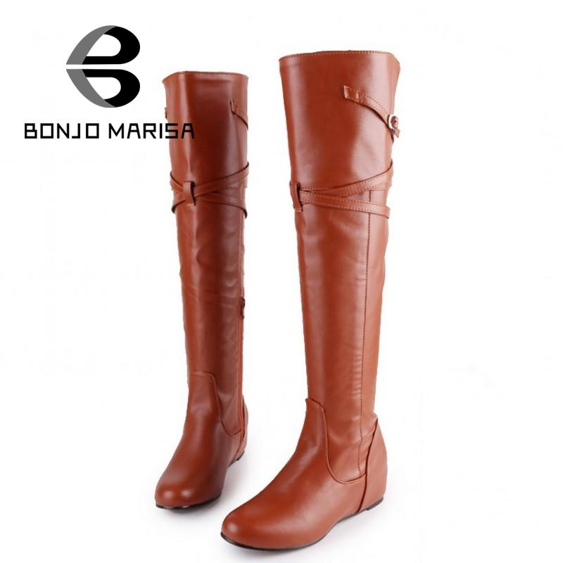 Big Size 34-43 Leisure Buckle Platform Shoes Women Autumn Spring Increasing Med Heels Round Toe Knee High Boots Female Shoes<br><br>Aliexpress