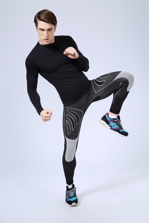 2015 New Hot Running Pants Men Stripe Designer Bodybuilding Fitness Pantalon Compression Elastic Sports Trousers running tights(China (Mainland))