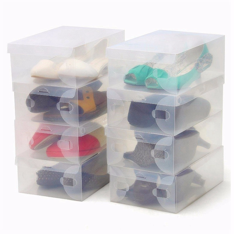 NEW 1pcs Plastic Clear Shoe Box Transparent Shoe Boot Box Stackable Foldable Storage Box Organizer For Home Decor For Men/Women(China (Mainland))