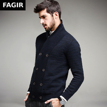 2016 Autumn Mens Fashion Sweaters 100% Cotton Blue Double Button Cardigan Brand Clothing Man's Knitwear Male Sweatercoats 13306(China (Mainland))