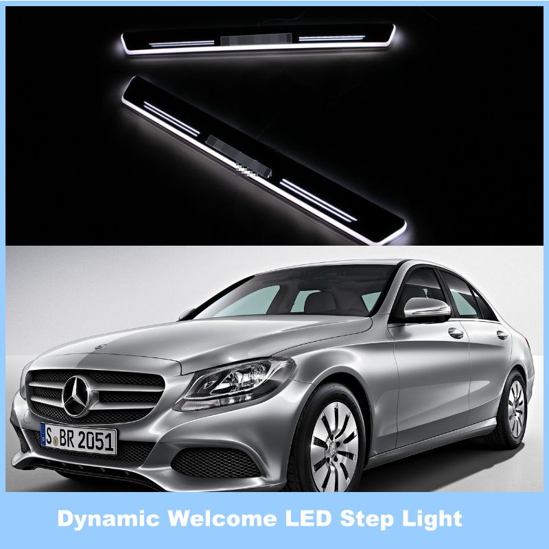 For MB Mercedes Benz C Class W205 2014 / Ynamic Pedal Lights, Streamer Lamp Stylish Cool LED Step Light, Door Welcome Lamp<br><br>Aliexpress