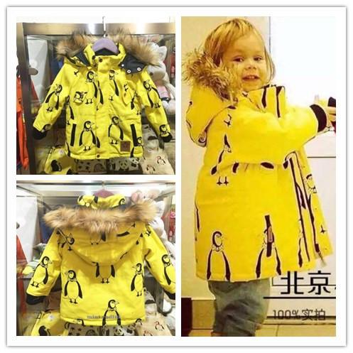 2015 winter mini rodioni penguin raccoon fur thickening cotton-padded children outerwears unisex boys girls wadded jacket coat(China (Mainland))