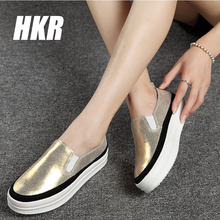 HKR 2015 Autumn women suede wedge shoes lady slip-on platform flat shoes women genuine leather shoes Bordered creepers 8835(China (Mainland))