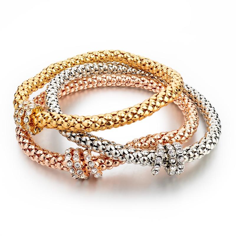 Гаджет  3Pcs/Lot Crystal Bracelet With Pendant Fashion Gold Filled Bracelets Bangles Silver Jewellery Elastic Charm Chain SBR150178 None Ювелирные изделия и часы