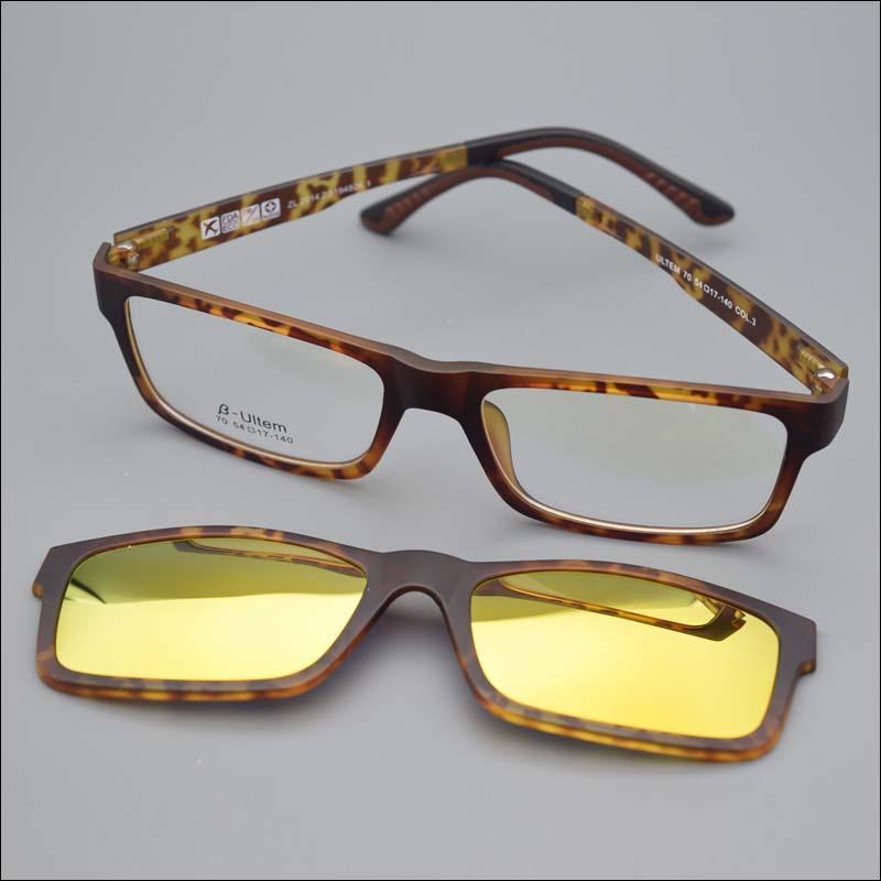 2015 Ultra-light Ultem titanium glasses frame belt magnet optical frame glasses with clip on polarized sunglasses mirror jkk70Одежда и ак�е��уары<br><br><br>Aliexpress