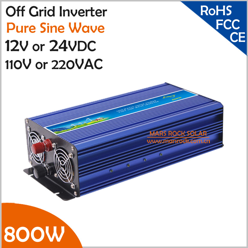 800W Off Grid Inverter, Surge Power 1600W 12V/24VDC to 110V/220VAC Pure Sine Wave Single Phase Inverter for Solar or Wind System(China (Mainland))