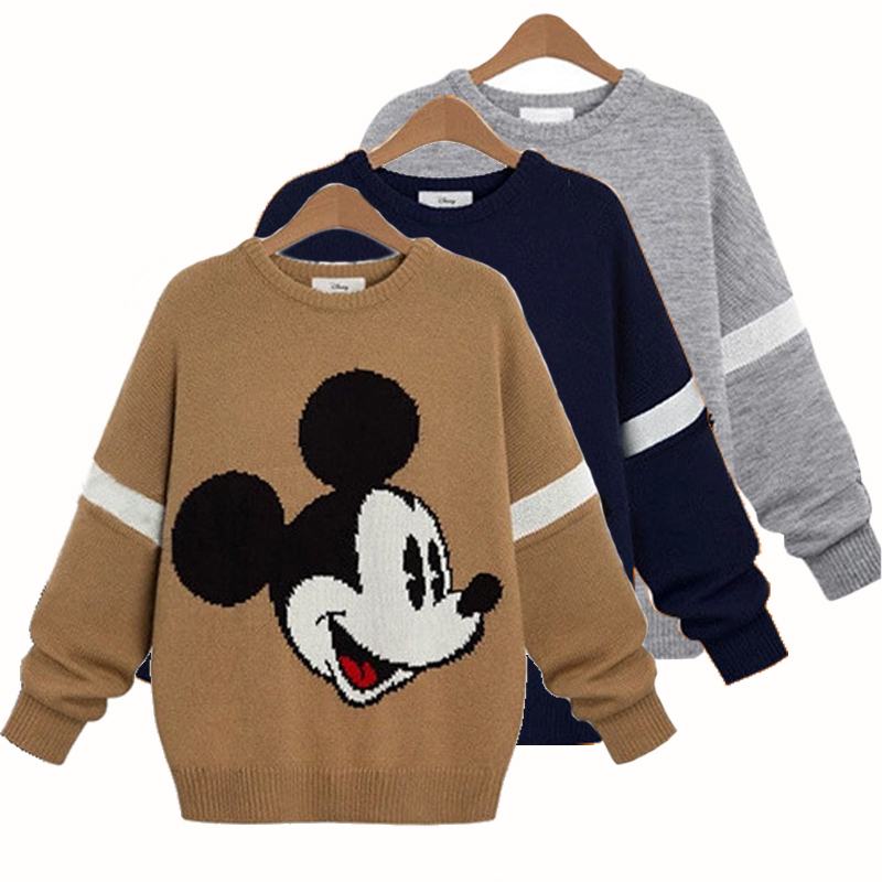Women Sweaters And Pullovers Cute Mickey Sweater Ladies 2014 New Thick Warm Mouse Sweaters Long Sleeve Round Neck Sueter(China (Mainland))