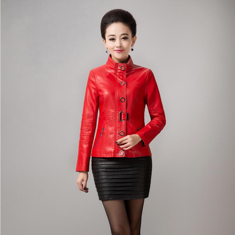 L-5XL!Spring New Lady Fashion Lady Short-Sleeved Collar Recreational Lady High-Grade Sheep Pipi Jacket Lady Brand Leather Jacket(China (Mainland))