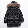 Brand Winter Down Coats Kids Thickening Boys Goose Down Parka With Big Fur Collar Girls Long