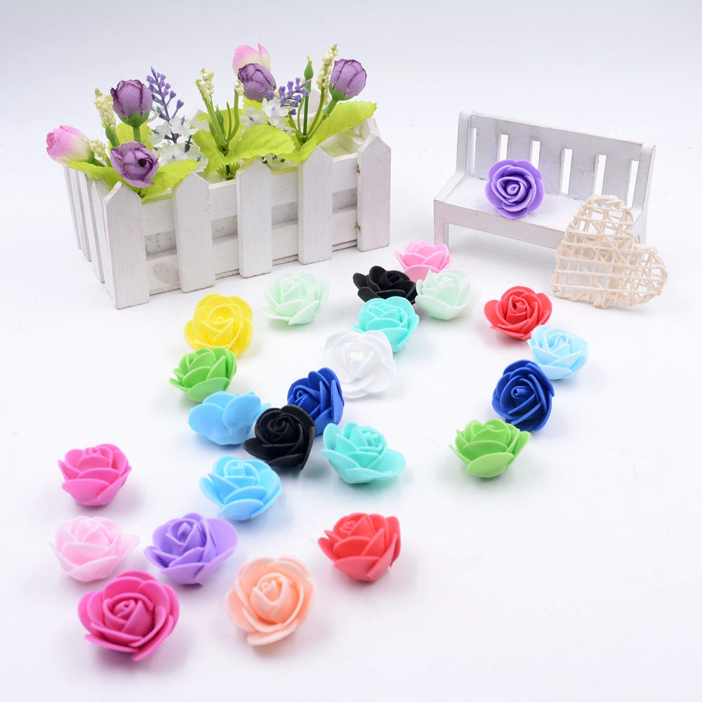 20 Pcs/lot 2.5cm Foam Beautiful roses Wedding Home Christmas Decoration Artificial Fowers Craft Handmade DIY 15 Colors 2015(China (Mainland))