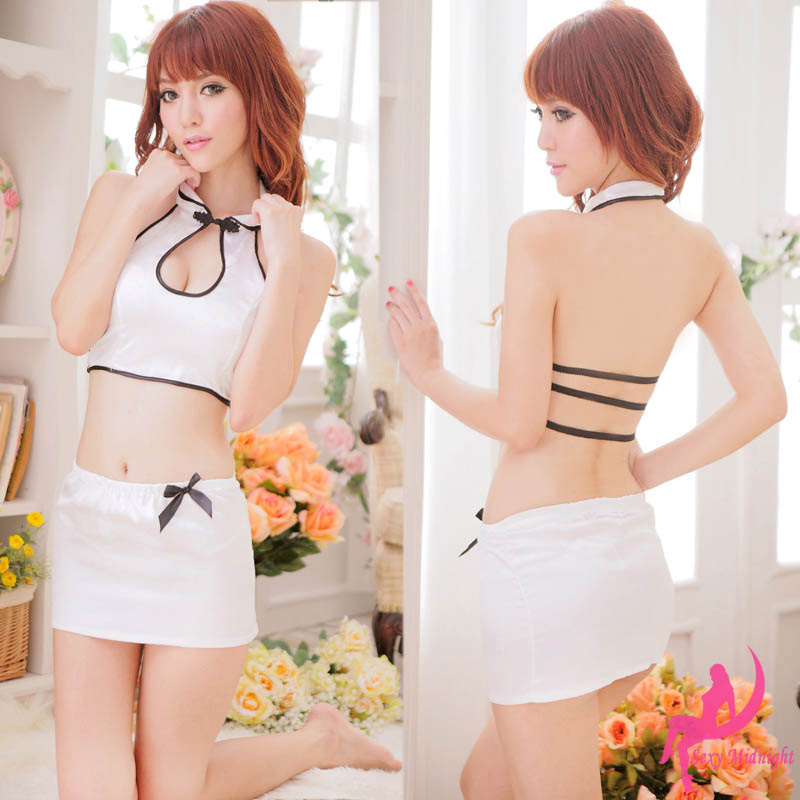Beautiful skin curve! Retro halter blouse skirt dress sexy underwear uniform temptation backless maid uniforms 6142(China (Mainland))