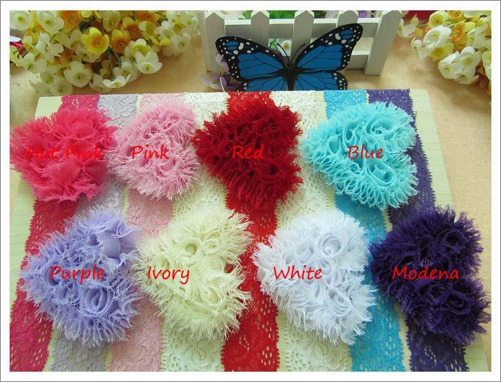On sale promotion Shabby Chiffon Flowers elastic headbands hairband clover flower with rhinestone center kids hair accessories(China (Mainland))