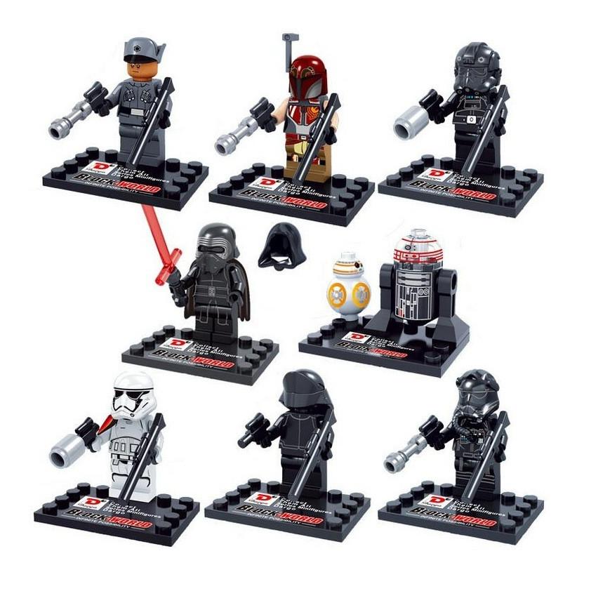Star Wars The Drive Awakens 10 Pcs Set Motion figures Kylo Ren TIE Pilot Captain Phasma R2D2 Constructing Toy