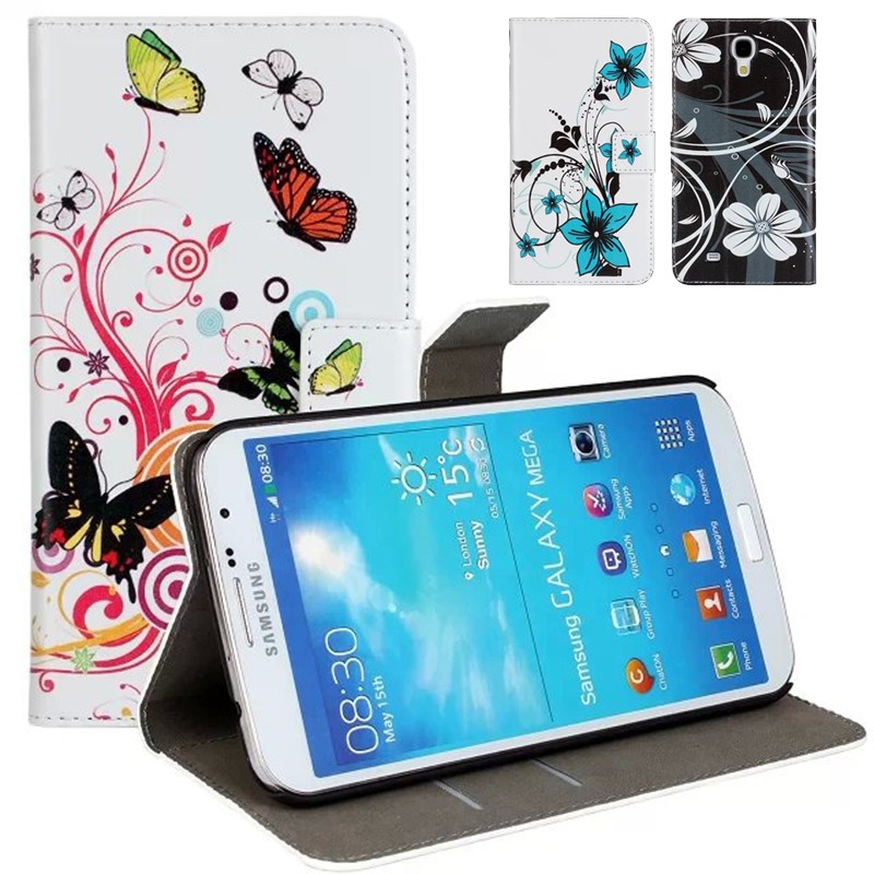 For Samsung Mega i9200 6.3 inch Cases Cover Flower Fashion Lady Girl Leather Wallet Bag Fundas Carcasa Hoesjes Capinhas Coque(China (Mainland))