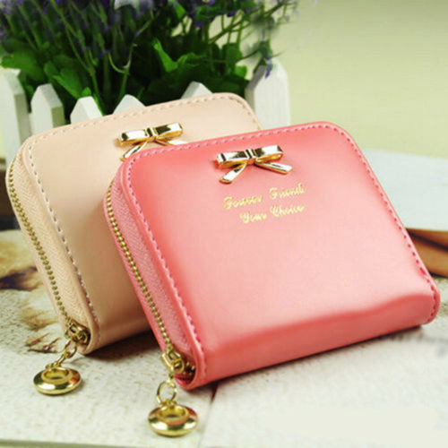 Hot 2015 Summer Style 8 Colors Women Bag Mini Faux Leather Coin Purse Holders Zip Around Wallet Card Handbag Short Small Purse(China (Mainland))