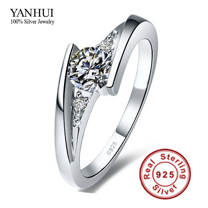 Sent Certificate of Silver!!! 100% Pure 925 Sterling Silver Ring Set Luxury 0.75 Carat CZ Diamond Wedding Rings for Women JZR004(China (Mainland))