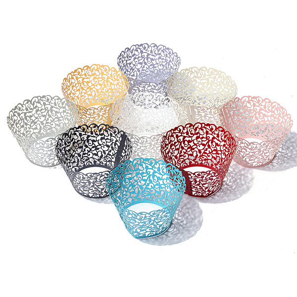 12Pcs 2015 New Multicolor Filigree Vine Cupcake Wrappers Cake Cup Wraps Wedding Birthday Tea Party Home Decoration Tools(China (Mainland))
