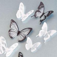Cristal 18 unids mariposas 3D DIY decoración pegatinas de pared para habitación de los niños de decoración del partido parrilla refrigerador decal(China (Mainland))