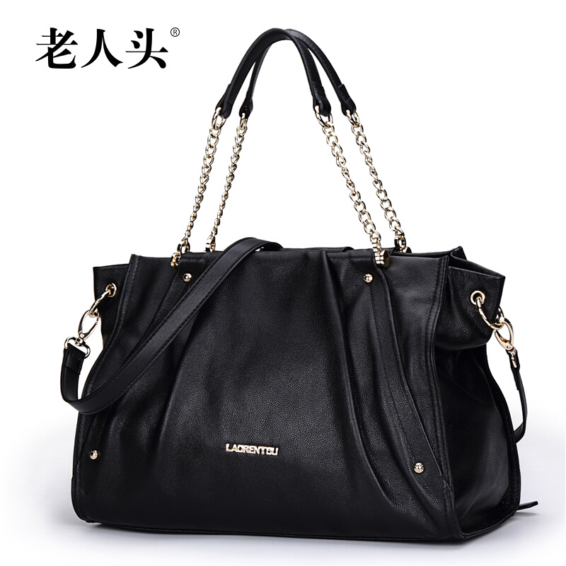 High Quality Genuine Leather Women Handbag LAORENTOU Brand Fashion Pleated Women Totes Bolsas Chain Shoulder Messenger Bags<br><br>Aliexpress