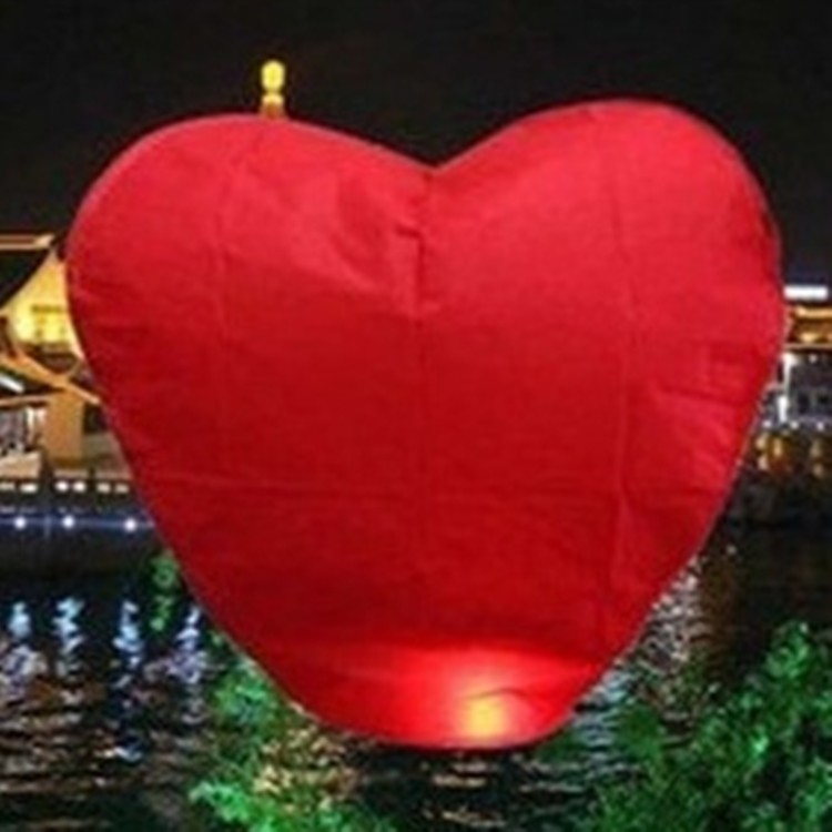 Wholesale 10pcs/lot Pure Red Heart Shaped Chinese Sky Lantern & Wishing Lamp & Kongming Lanterns Wedding Party Free Shipping(China (Mainland))