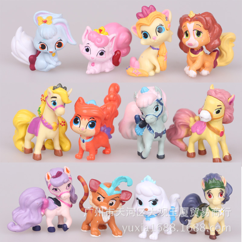 12pcs/lot 5CM LPS Palace Pets PVC Action Figures Disny Princess Little Pet Shop Cats Dogs Figurines Kids Toys for Boys Girls(China (Mainland))