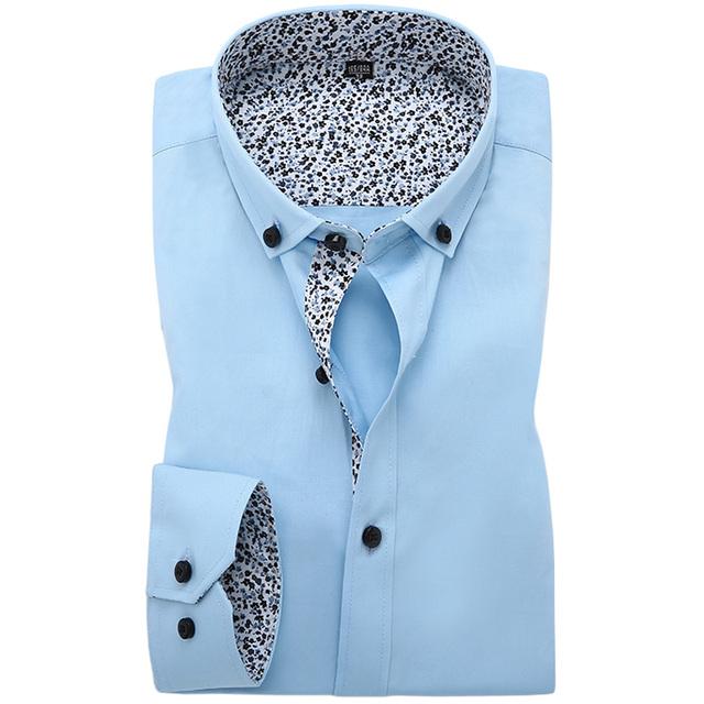 2016 новых осенью мужские рубашки 100% хлопок регуляр-fit длинным рукавом цветочный ...