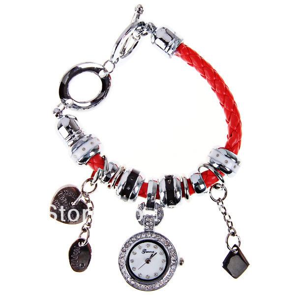 Original PictureGeneua Quartz Watch with Diamonds Dots Indicate Leather Watchband for Women -Red