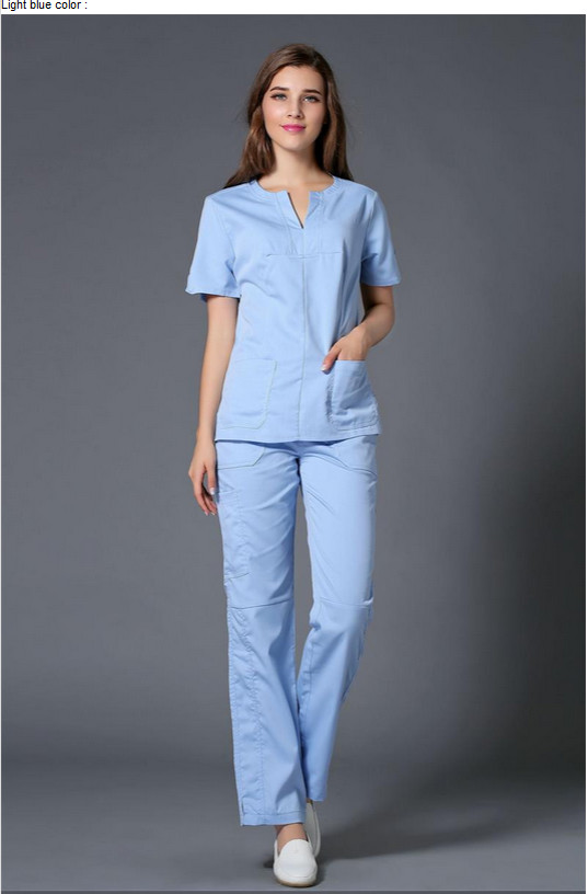 Hot!! Summer women hospital medical scrub clothes set dental clinic and beauty salon nurse uniform fashionable design slim fit(China (Mainland))
