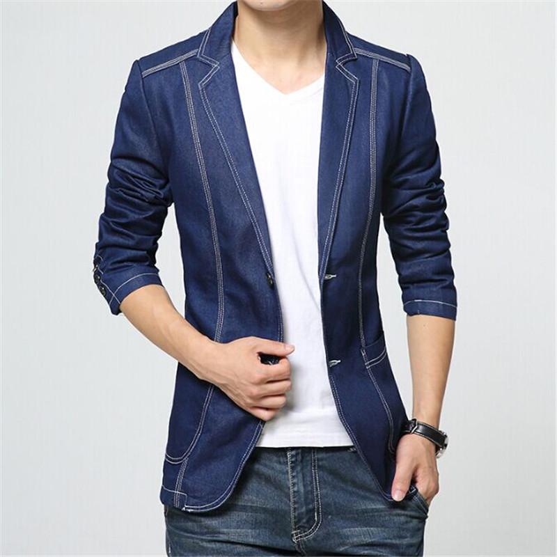 Men Denim Suit Jacket Brand Autumn Slim Fit Fashion European Style Business Blazer Suit Cotton Casual Wedding Dress Blazer F1868Одежда и ак�е��уары<br><br><br>Aliexpress