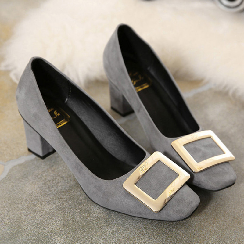 2016 New Spring Square Toe Ladies Shoes Sexy Buckle Thick Heel Shoes Woman Casual Patene Leather Shoes(China (Mainland))