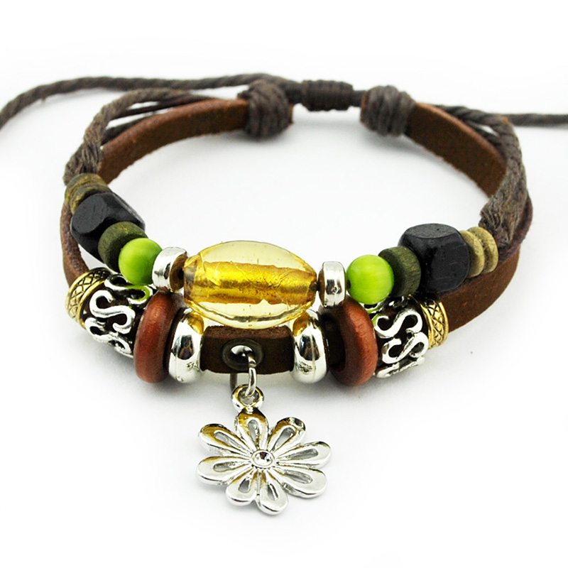Handmade Craft Daisy Flower Zinc Alloy Dangle Citrine Charms Leather Bracelets & Bangles for Women Men Bracelet Jewelry(China (Mainland))