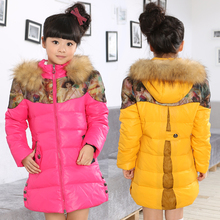 Kids down jacket and long sections Child -old girl down jacket thick winter dress girl authentic 2014