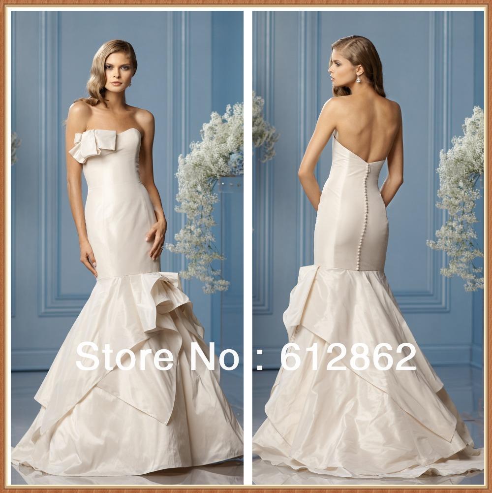 Low Back Mermaid Wedding Dress : Strapless taffeta low back sweep train mermaid wedding dress g