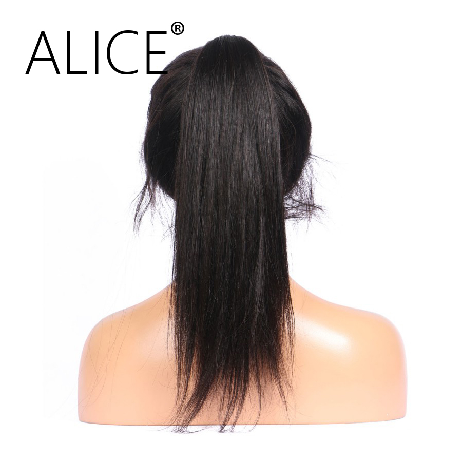 ALICE 150 Density Brazilian Full Lace Human Hair Wigs With Baby Hair Non Remy Silky Straight Lace Wigs No Tangle No Shedding