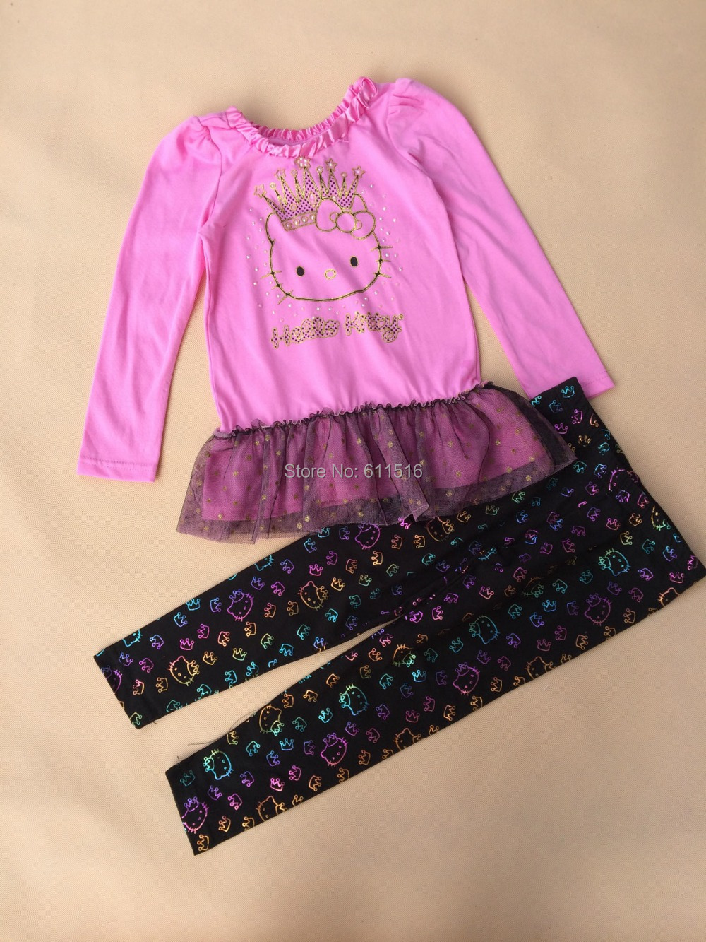 6 sets/lot 2-7 year girl helli kitty brand skirt suit dress cat leggings 2 pieces autumn outfit