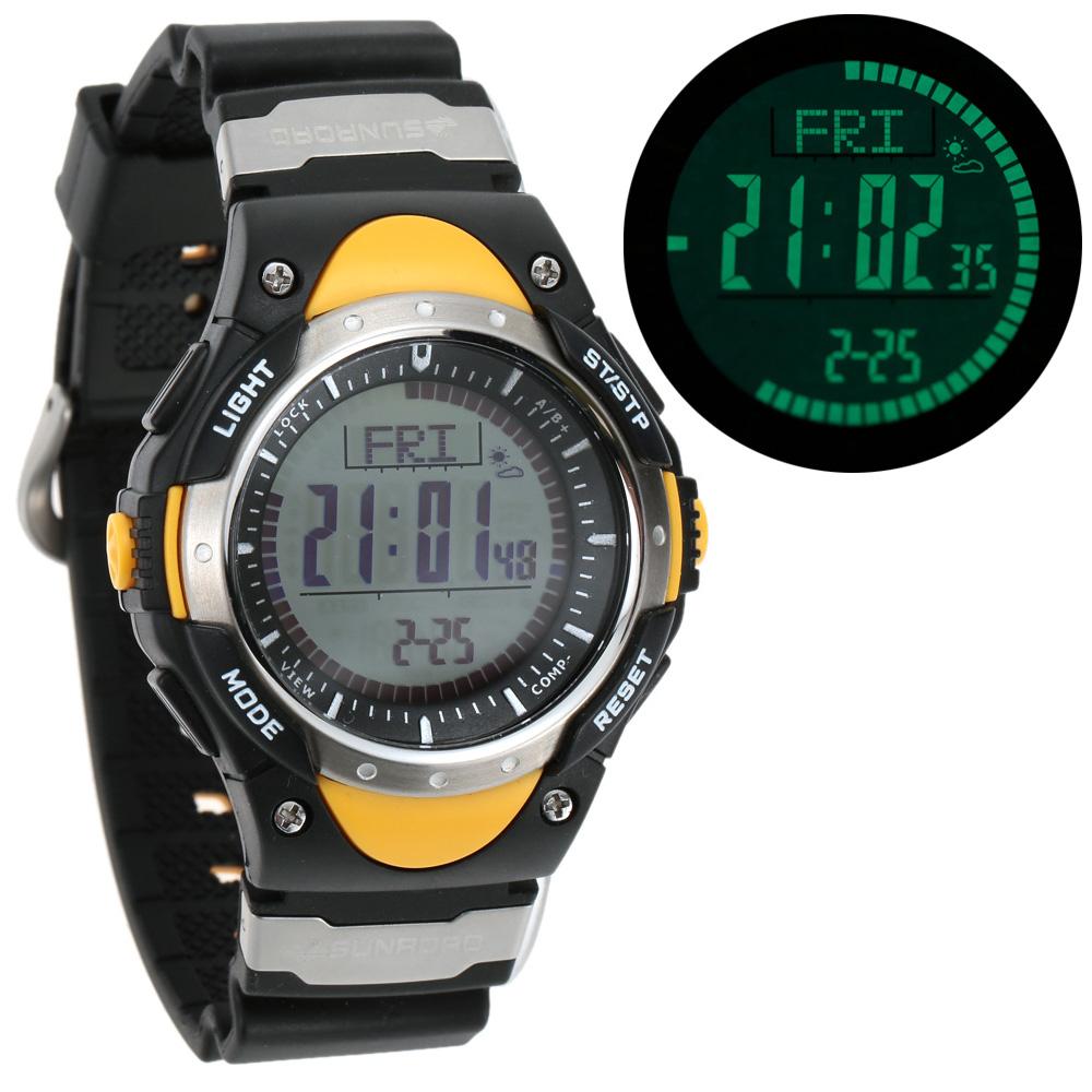 SUNROAD Brand Digital Watch Men EL Backlight Military Altimeter Compass Stopwatch Fishing Barometer Pedometer Relogio Masculino(China (Mainland))