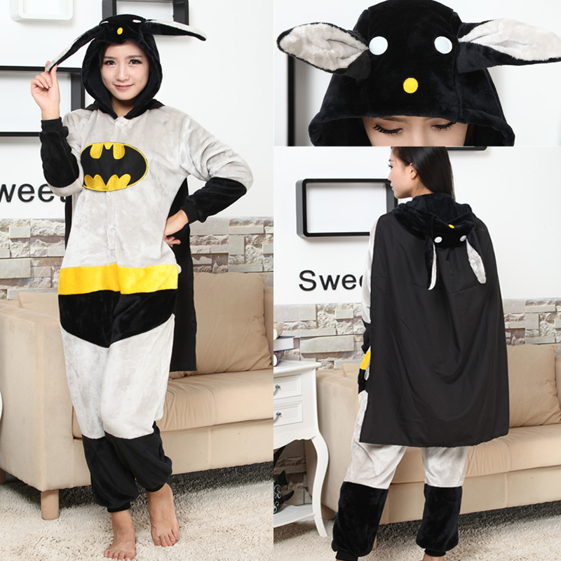 Cheap DHL Winter Adult Cartoon Kawaii Animal Batman Footie Pajamas Cheap Kigurumis Onesie Cosplay Costume For Women and Men(China (Mainland))