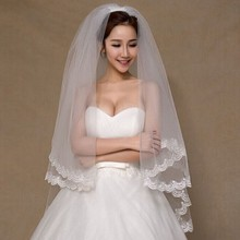 Buy Wedding Accessories Appliques Tulle Short Wedding Veil Lace Edge Bridal Veil Comb Cheap Price for $4.86 in AliExpress store