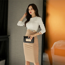 Buy 2017 Spring Office Sexy Bandage Bodycon White Women Long Sleeve Pencil Dress Vestidos Vintage Party Dresses 2 piece set Vestidos for $40.15 in AliExpress store