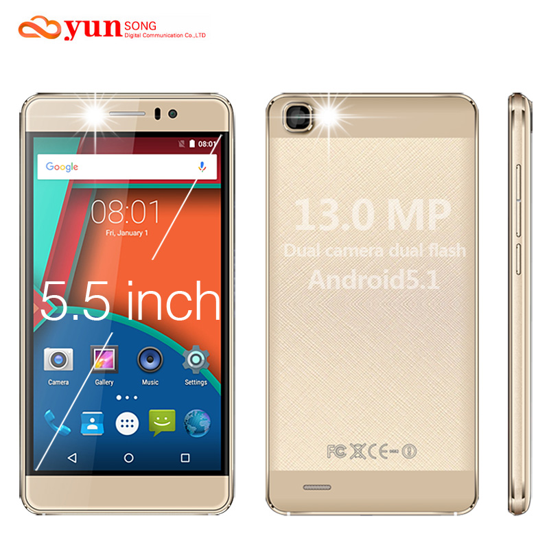 Original YUNSONG YS7pro Mobile Phone 13MP camera 5.5 inch screen MTK6580 Quad Core Dual Sim Cell Phone GSM/WCDMA 3G Smartphone(China (Mainland))