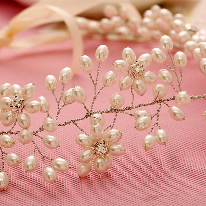Tiara Head Chain Gold Headband Pearl Jewelry Crystal Headbands Flower Hair Band Bridal Headpiece Hair Accessories WIGO0655(China (Mainland))