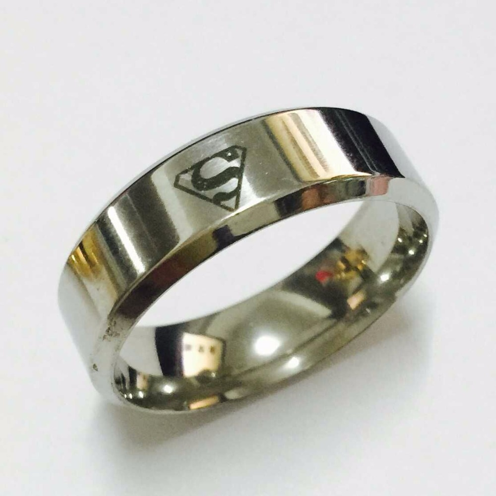 Cool boys girls 8mm 18K white gold silver color superman hero rings for men women high quality free shipping(China (Mainland))