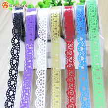 DIY Scrapbooking Colorful Lace Tape Decoration Roll Tape Candy Color Washi Decorative Sticky Masking Self Adhesive Tape 2pcs