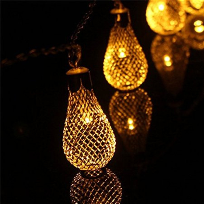 LED Silver Filigree Metal Mesh Water Drop Battery Operated Fairy Lights, 20led Metal Drip String Lights for Patio Wedding Party <br><br>Aliexpress