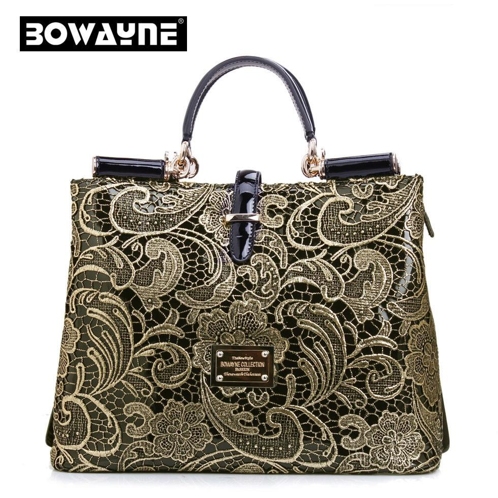 Luxury women genuine leather Messenger bag brand gold lace handbag high-grade Authentic England fashion inclined shoulder bag<br><br>Aliexpress