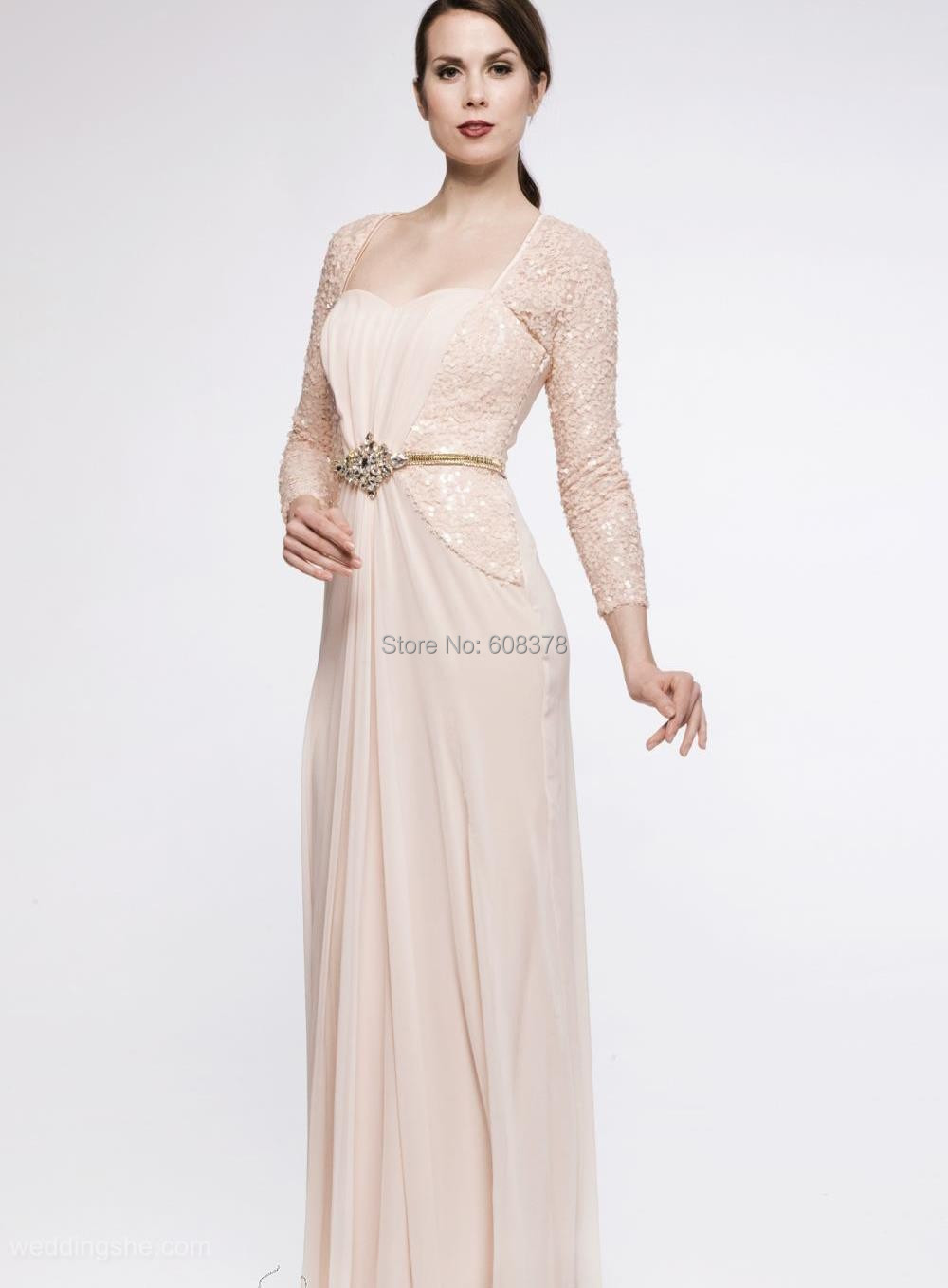 2015 chic boutique floor length chiffon sequin mother of for Wedding mother of the bride dresses