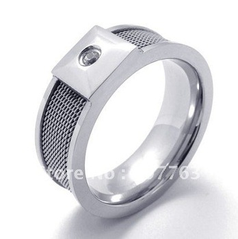 Lovers Fashion 316L Stainless Steel Silver Mesh Inlay Clear CZ Stone Wedding Engagment Comfort Fit Rings SZ#8-12