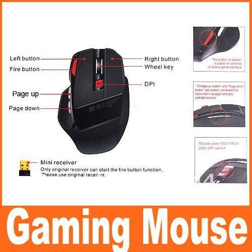 2.4G 2.4GHz Optical Gaming Wireless Mouse 1000/1600/2000DPI, logitech mouse,PC mouse,Free Shipping